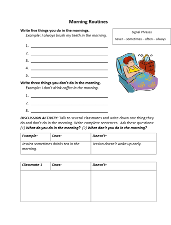 Simple Present Tense Morning Routines
