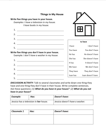 To have verb and house vocabulary
